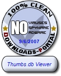 Thumbs.db Viewer does not contain any known virus, adware, spyware, dialer, or any kind of suspicious or potentially dangerous program