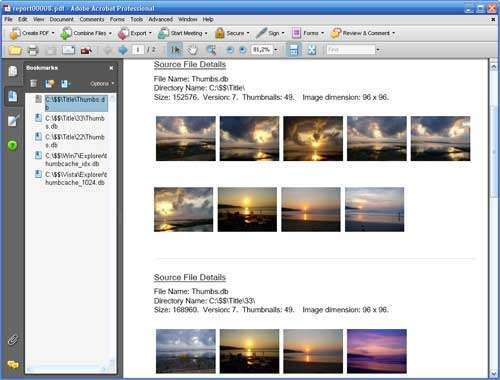 Click to view Thumbs.db Viewer Pro 3.1 screenshot